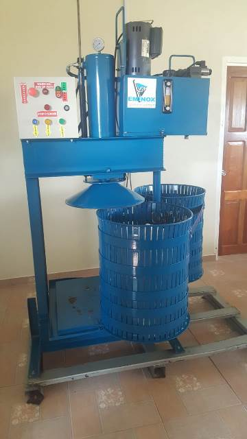 Equipment inside the farine processing factory.