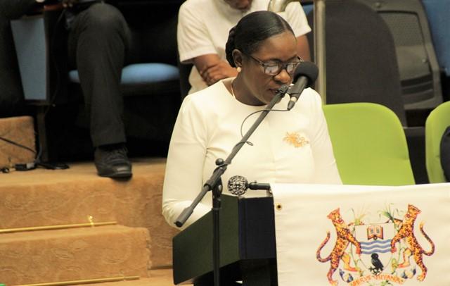 Minister of Education, Dr. Hon. Nicolette Henry delivering the keynote address.