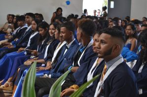 A section of the graduating class at Skeldon Line Path Secondary