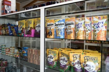 Part of Pawsome Pets' supply store.