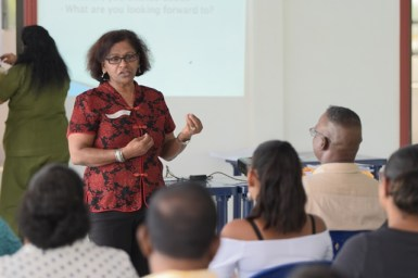 Trainer Kala Seegopaul during her session with the participants of the Diversity Education and Inclusion Training.