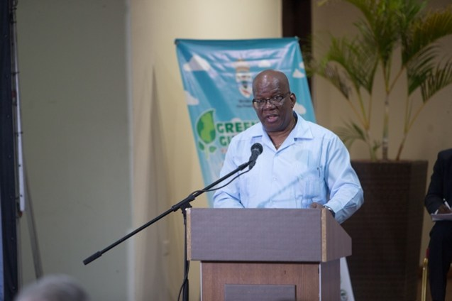 Minister of Finance, Winston Jordan, giving the keynote address at the opening of the Green Guyana Expo and Business Summit.