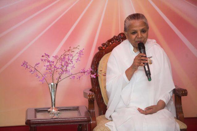 Sister Usha leading a meditation session on Sunday night