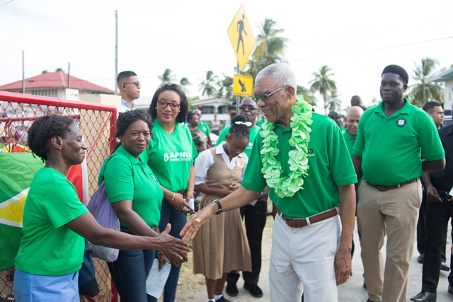 President David Granger arriving at the Rose Hall Primary School for the community meeting.