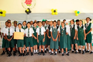 Students of the West Demerara Secondary School who were honoured for their regular and punctual attendance at school.
