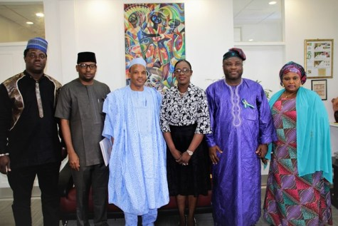 His Excellency, Alhaji Hassan Jika Ardo, Non-Resident High Commissioner of the Federal Republic of Nigeria (third from left) and his contingent following their meeting with Minister of Education, Hon. Nicolette Henry (third from right).