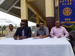 [In the photo, from left to right] At the head table; Department of Education - Primary Level representative, Lalchand Sadeek, Manager of the Bank of Nova Scotia - New Amsterdam Branch, Vibert Jones, Regional Chairman, David Armagon and President of RCNA, Rafeek Kassim