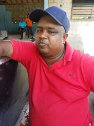 Sudat Sukhan, chips and beverage vendor who plies his trade near the Berbice Bridge.