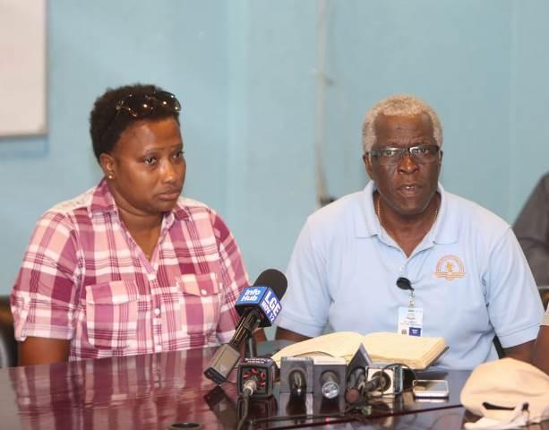 (from left) Minister Annette Ferguson and GCAA Director, Lt. Col. (Retd.) Egbert Field.