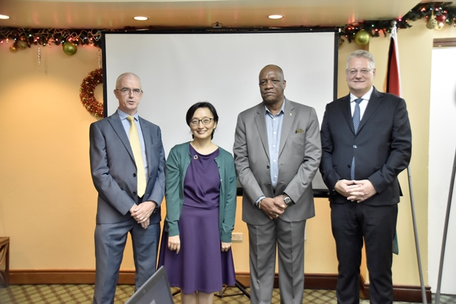 (From left to right) Deputy British High Commissioner, Mr. Ray Davidson, United Nations Development Programme Coordinator, Ms. Mikiko Tanaka, Minister of State, Mr. Joseph Harmon, and European Union Delegation Ambassador, Mr. Jernej Videtic.