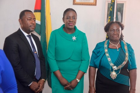 Resident and Minister of Education, Dr. Nicolette Henry [center], re-elected Mayor of New Amsterdam, Winifred Heywood and Newly elected Deputy Mayor, Wainwright McIntosh.
