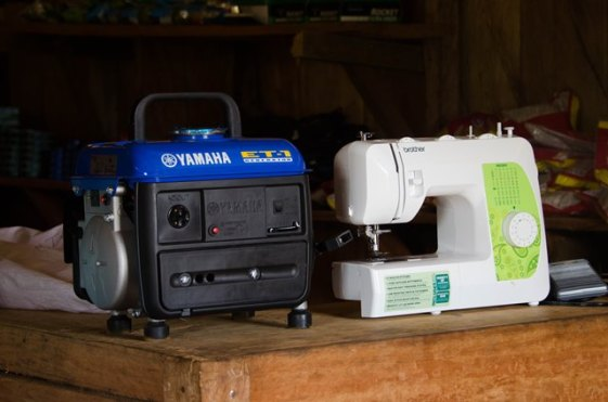 Some of the sewing machine and the generator donation.