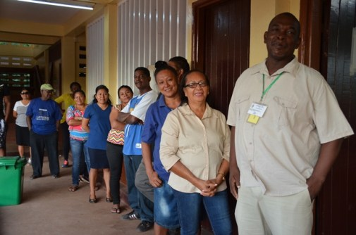 Carlton Beckles was first in line at the Arapaima Primary School to cast his vote.