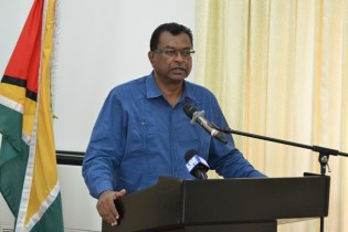 Minister of Public Security, Khemraj Ramjattan addressing the Guyana Fire Service's stakeholder consultation at the Arthur Chung Conference Centre (ACCC).