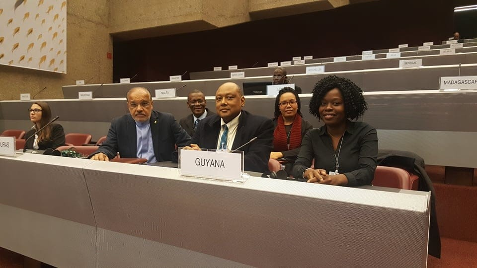 Guyanese delegation from left front; Ambassador and Permanent Resident of Guyana to the United Nations and Office and Other International Organisations at Geneva and the WTO Dr. John Deep Ford, Minister of Natural Resources Hon. Raphael Trotman and MNR Project Officer Mariscia Charles. Right back: Environmental Protection Agency representative Felicia Adams-Kellman and Guyana Geology and Mines Commission Carlos Todd.