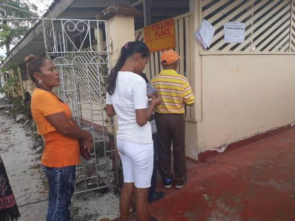 Residents from communities captured in the Hauraruni/Yarrowkabra Local Authority Area queued to cast their votes in Constituency Four, Kuru Kuru College.