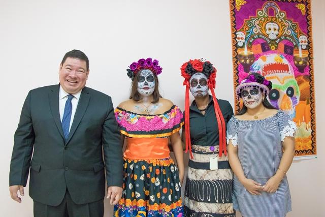 Mexican Ambassador to Guyana, Ivan Roberto Sierra Medel and staffs dressed as La Catrina.
