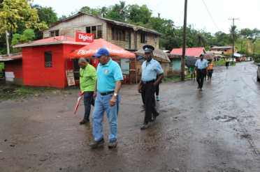 Minister Sydney Allicock during his walkabout in Matthews Ridge