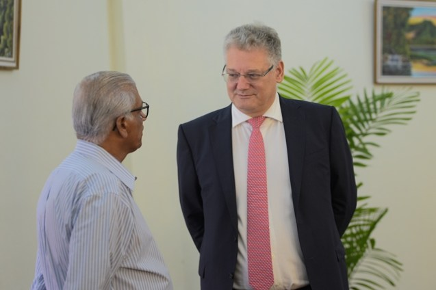 European Union Ambassador, Jernej Videtic in discussions with a participant at the workshop.