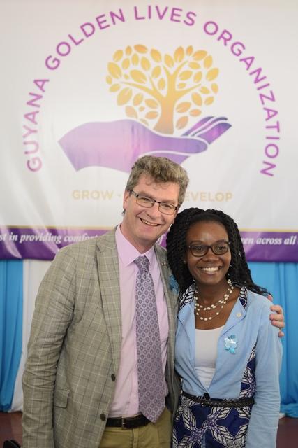 British High Commissioner, Greg Quinn and Founder of Guyana Golden Lives, Marva Langevine.