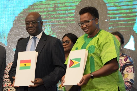 Minister within the Ministry of Public Infrastructure, Annette Ferguson and Minister of Aviation of Ghana, Joseph Kofi Adda with the signed agreements.