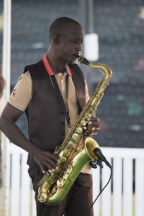 A saxophonist serenading the audience.