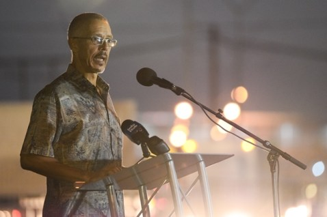 Minister of Business, with Responsibility for Tourism, Dominic Gaskin as he addresses the crowd.