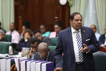 Prime Minister Moses Nagamootoo during the 99th Sitting of the National Assembly.