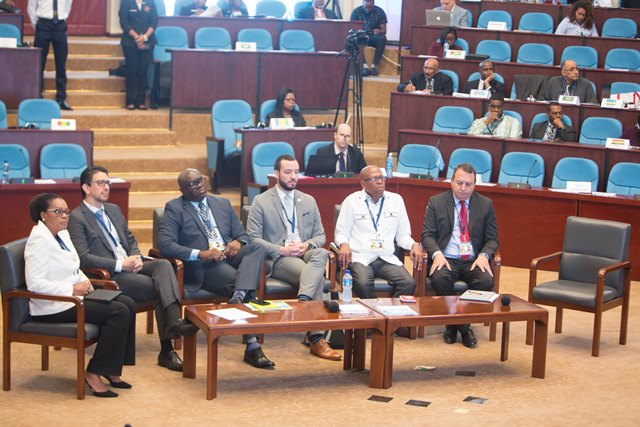 Air Transport Meeting Panel, Day 2 - Air Transport and Security. Chief Executive Officer of LIAT, Julie Reifer-Jones [extreme left].
