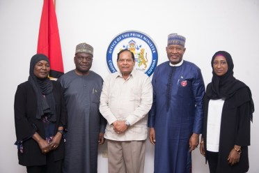 Prime Minister, Moses Nagamootoo and Minister of State Aviation, Federal Republic of Nigeria, Senator Hadi Sirika along with members of the Nigerian Delegation.