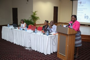 Regional Director of IMPACT Justice Project, Velma Newton addressing the participants of the Restorative Practices workshop held at the Princess Ramada Hotel, Providence.