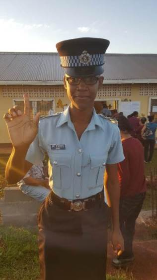 Police Officer, Naomi Ross-Singh was the first to cast her vote at the Mabaruma Nursery School in Constituency Three in the Mabaruma Township.