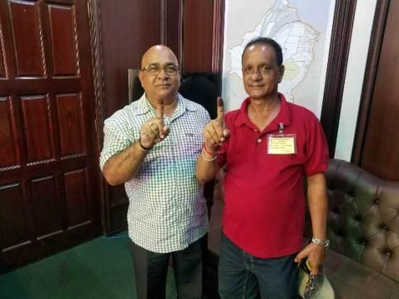 Regional Executive Officer, Denis Jaikaran and Region Three Regional Chairman, Julius Faerber voted.