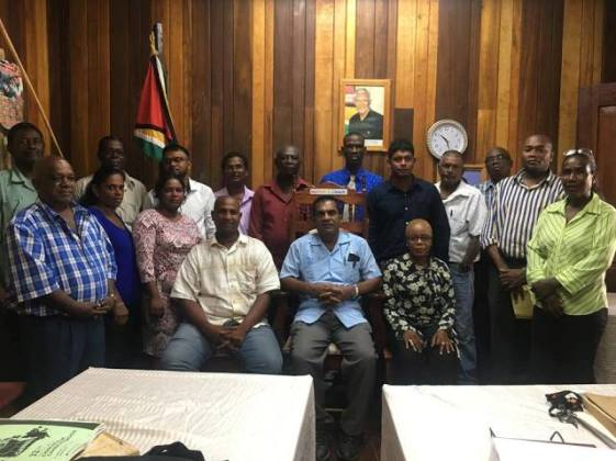 [In the photo, seated at centre] The newly elected Mayor Chattergoon Ramnauth, [seated left] Deputy Mayor Deonauth Ramnauth, [seated right] Town Clerk Natasha Griffith along with the newly sworn-in councillors that will serve the municipality of Rose Hall Town.