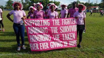 One of the groups participating in the Linden Cancer Awareness Walk