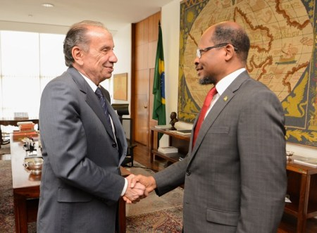 Ambassador Talbot is greeted by Brazilian Foreign Minister Nunes.
