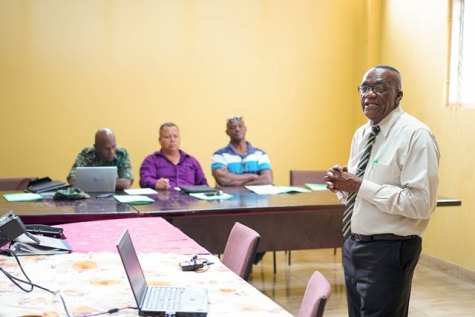 Regional Chairman, Mr. Rennis Morian delivering opening remarks at the inaugural meeting of the Upper Demerara - Berbice (Region Ten), Regional Disaster Risk Management Committee.