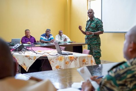 Director General of the CDC, Lieutenant Colonel, Kester Craig engaging members of the Upper Demerara - Berbice (Region Ten), Regional Disaster Risk Management Committee.