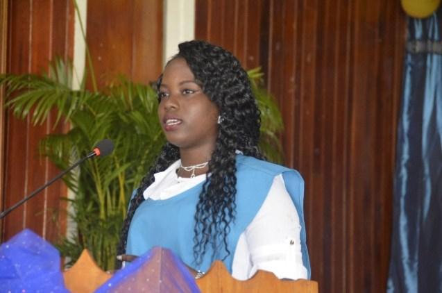 Valedictorian, Shanera Rudder during her speech.