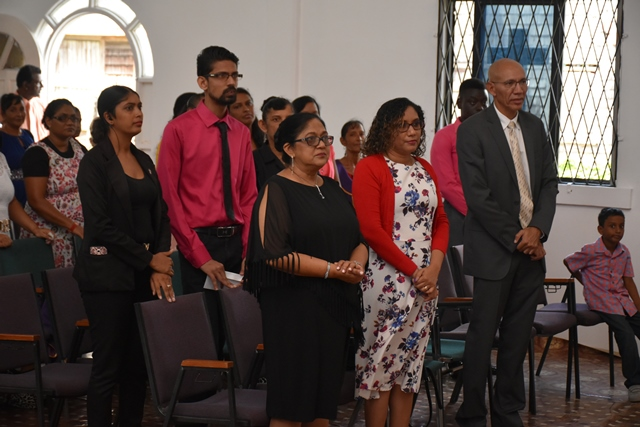 Mrs. Sita Nagamootoo joins the congregation of the Prophetic Renewal Ministries at Nigg Settlement, Corentyne, Berbice for its Sunday service.