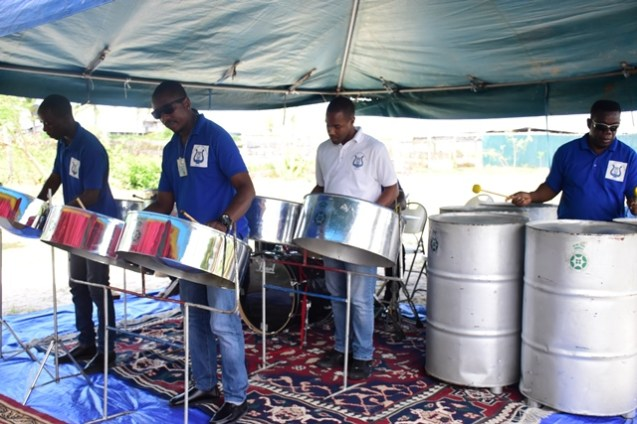 A steel pan band entertaining the guests.