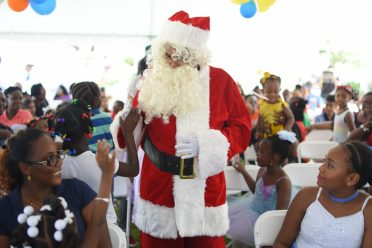 Santa Clause interacts with the audience