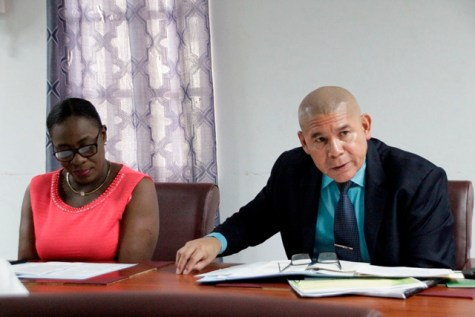 Minister of Education, Dr. the Hon. Nicolette Henry and Minister of Social Cohesion, Dr. George Norton (right) at today's meeting.