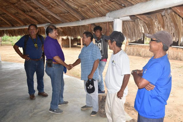 Minister of Indigenous Peoples' Affairs, Sydney Allicock interacting with residents of Shulinab Village, South Central Rupununi, Region 9