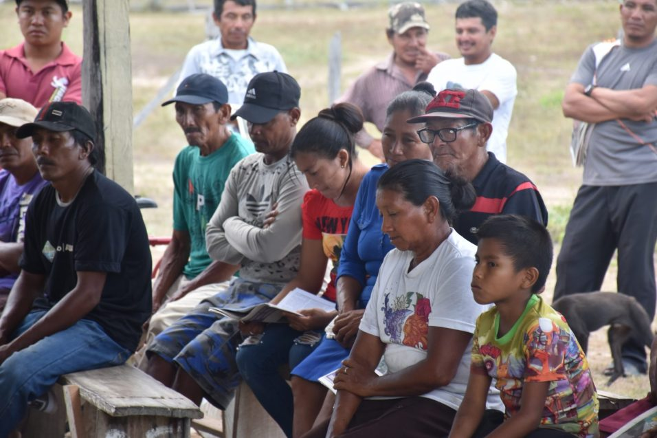 A section of the residents gathered at the community at Patarinau Village, South Central Rupununi, Region 9