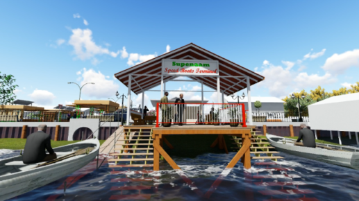 A 3D projected image of the Supenaam Waterfront Project.