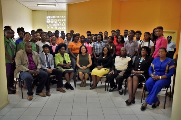 First Lady, Mrs. Sandra Granger (seated third from left) along with regional representatives and participants at the third BIT/ICT workshop being held in Linden, Upper Demerara-Berbice (Region Ten).