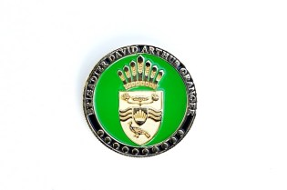 The obverse and reverse of the coin presented to the membership of the Guyana Press Association by President David Granger on Sunday.