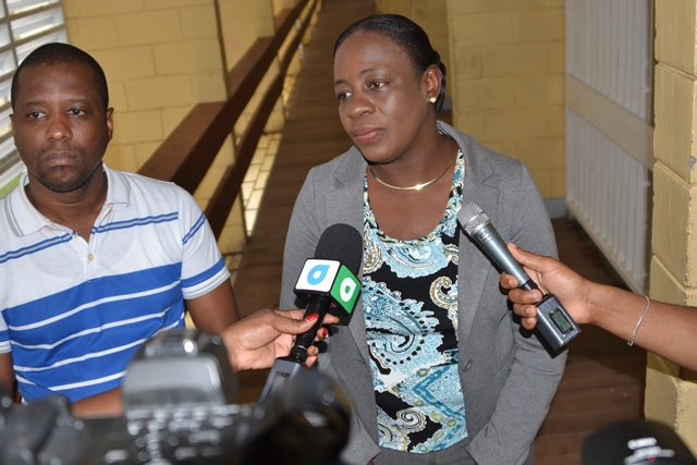 Minister of Education, Dr. Nicolette Henry in an interview with media operatives on her visit to the schools.