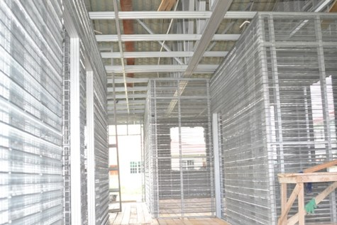 The interior of one of the houses under construction.